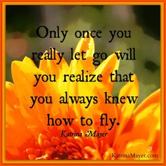 Only once you really let go will you realize that you always knew how to fly. Katrina Mayer