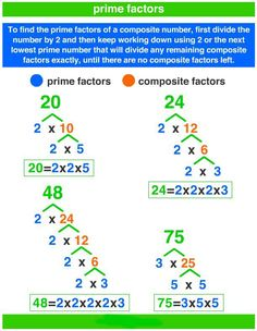 How to Find The Prime Factors Using Factor Tree - A Plus Topper Math Charts, Math Anchor Charts, Composite Numbers, Prime Factorization, Prime Numbers, Factors And Multiples, Gcse Math, Fourth Grade Math, Learning Websites