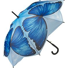 Galleria Blue Morpho Stick Umbrella > Umbrellas and Rain Gear > Business Accessories - eBags Uv Umbrella, Under My Umbrella, Beach Umbrella, Umbrella Painting, Clear Umbrella, Cute Umbrellas, Umbrellas Parasols, Blue Morpho, Walking In The Rain