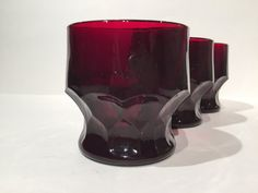 Ruby Georgian Tumblers Anchor Hocking Set of 3, Red Glasses Juice Glasses Honeycomb by MotownLostandFound on Etsy
