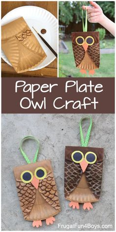Paper Plate Owl Craft with construction paper eyes, beak, and feet