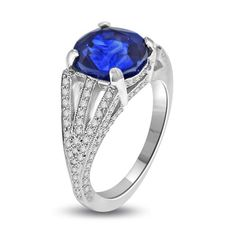 6.47 Ct Sapphire & Diamond Cocktail Ring in Platinum | Your #1 Source for Jewelry and Accessories