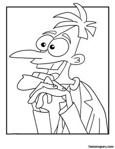 Phineas and Ferb Coloring Pages Dr Doofenshmirtz Coloring Page – Cartoon Jr. I love Doofenshmirtz! Disney Halloween Coloring Pages, Scooby Doo Coloring Pages, Cute Coloring Pages, Cartoon Coloring Pages, Disney Coloring Pages, Coloring Pages To Print, Free Printable Coloring Pages, Coloring Pages For Kids, Coloring Books