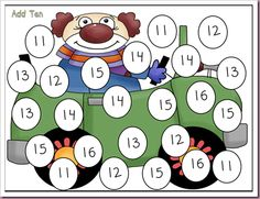Add ten game board - roll dice add ten and cover that number