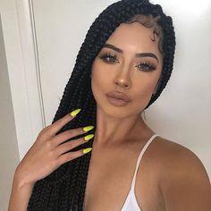 85 Box Braids Hairstyles for Black Women - Hairstyles Trends Box Braids Hairstyles, Girl Hairstyles, Teenage Hairstyles, Big Curly Hair, Curly Hair Styles, Natural Hair Styles, Deep Curly, Box Dreads, Dreadlocks