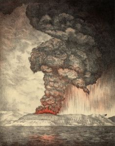 Lithograph from 1888 showing the Krakatoa eruption, author unknown