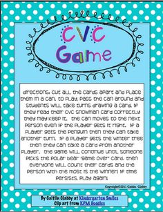Kindergarten Smiles: Winter CVC Game