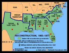 Reconstruction, 1865–77, At the end of the Civil War, the defeated South was a ruined land. The physical destruction wrought by the invading Union forces was enormous, and the old social and economic order founded on slavery had collapsed completely, with nothing to replace it. The 11 Confederate states somehow had to be restored to their positions in the Union and provided with loyal governments, and the role of the emancipated slaves in Southern society had to be defined.