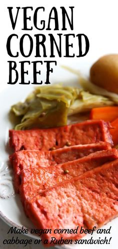- This vegan corned beef recipe will amaze you! Make it with your choice of tofu, tempeh or seitan to -Amazing Vegan Corned Beef! - This vegan corned beef recipe will amaze you! Make it with your choice of tofu, tempeh or seitan to - Vegan Corned Beef Recipe, Vegan Meat Recipe, Seitan Recipes, Corned Beef Recipes, Vegan Dinner Recipes, Meat Recipes, Whole Food Recipes, Vegetarian Recipes, Cooking Recipes