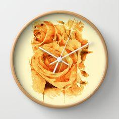 peach rose Wall Clock