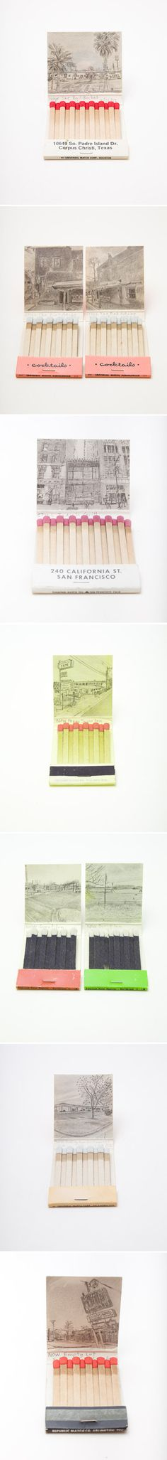 Matchbook drawings by Krista Charles { via @sfgirlbybay }