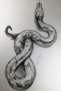 Dark Art Drawings, Pencil Art Drawings, Art Drawings Sketches, Animal Drawings, Cool Drawings, Drawings Of Snakes, Realistic Drawings Of Animals, Pencil Sketches Of Animals, Animal Sketches Easy