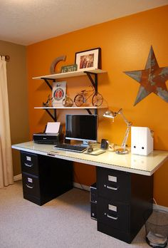 Modern DIY computer desk ideas, small home office gaming organization Home Office Desks, Home Office Furniture, Office Decor, Office Ideas, Desk Ideas, Furniture Decor, File Cabinet Desk, Cabinet Doors, Filing Cabinets