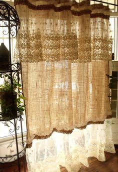 Layered SHABBY washed Rustic Chic Burlap by BetterhomeLiving - elegant decor Cortinas Country, Cortinas Shabby Chic, Shabby Chic Curtains, Rustic Curtains, Shabby Chic Bedrooms, Shabby Chic Furniture, Farmhouse Curtains, Kitchen Curtains, Country Curtains