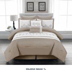 8 Piece Cal King Maui Palm Embroidered Bedding Comforter Set