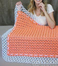 Broomstick Lace Blanket With Solomon's Knot By Naztazia - Free Crochet Pattern - See http://naztazia.com/diy-free-pattern-broomstic-lace-crochet-baby-wedding-blanket-afghan-throw-with-solomon-knot-edging.pdf For PDF Pattern - (ravelry)