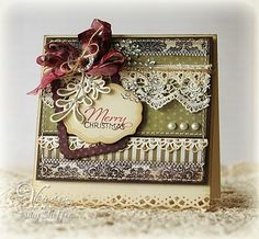Elegant Christmas Card...with many layers & prints and lace trim.
