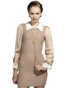 Maxchic Women's Silk Sleeve Studded Collar Cotton Blended Sweater Dress Q04554D12C,Khaki,X-Small Maxchic,http://www.amazon.com/dp/B008R5VQKS/ref=cm_sw_r_pi_dp_MxvWrbB78CBB43A7