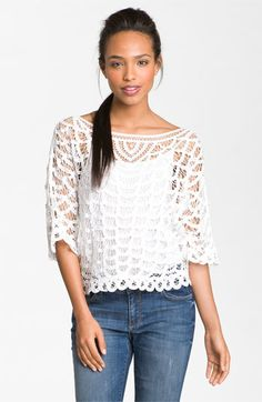 Hinge® Scalloped Battenburg Lace Top