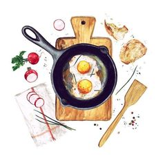 by Natalia Hubbert food drawing Art And Illustration, Food Illustrations, Watercolor Illustration, Food Design, Food Art Painting, Watercolor Food, Watercolour Painting, Watercolors, Food Sketch