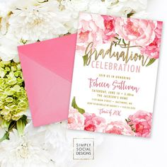 Floral Graduation Party Invitation Pink by SimplySocialDesigns