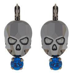 skulls de la collection ROCK N LOVE petite boucle  en cristal de Swarovski  pour oreilles percées