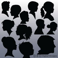 12 Face Silhouette Clipart Images Clipart by OMGDIGITALDESIGNS