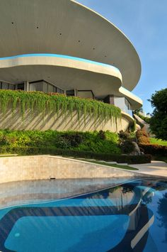 Arango Residence (Casa Marbrisa) Acapulco, Mexico. Architecture by John Lauter, 1973. View from below.