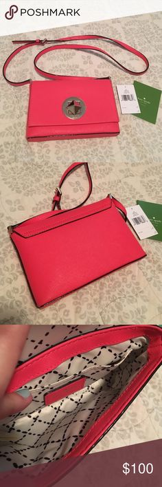 Kate spade Newbury ln geranium crossbody like new! This is a cross body bag. Great for your phone, lip gloss and cash on a night out! One inside pocket. No marks or stains when I looked it over. Overall great used condition! Item as shown in pics. This is the geranium color, may be a bit more peachy/orange tint in person but I would say it def looks pink too. Very bright and gorgeous bag! kate spade Bags Crossbody Bags