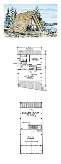 A-Frame Style COOL House Plan ID: chp-40551 | Total Living Area: 908 sq. ft., 1 bedroom & 1 bathroom. #houseplan #aframe