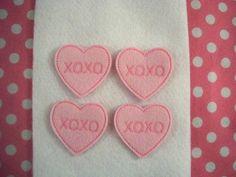 Machine Embroidered Hand made 4 Felt XOXO by HeartFeltCreation, $3.40