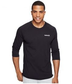 Hurley One and Only 3/4 Dri-Fit Raglan (Black) Men's Clothing