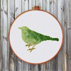 geometric bird cross stitch pattern nature spring beauty