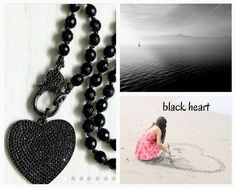 black heart gift necklace, Black heart pendant necklace, long black necklace, black heart pave necklace, long heart necklace. necklace#black#heart#boho#easter#spring#gifther#sexy#