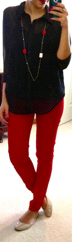 polka dot blouse, red skinny jeans, Target Mossimo Ona flat (in blush), gifted necklace