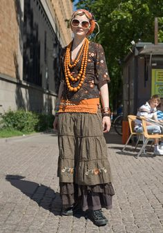 "Maarit, 22  ""I like to mix styles of different subcultures. Sometimes I wear stud belts, sometimes skate trousers. This kind of cyber hippie style comes naturally. Fruits street fashion books are a great source of inspiration to me.  I like spontaneous action and social happenings like Reclaim the Streets party today."""