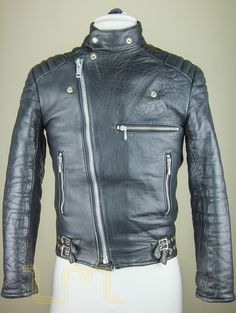Vintage Mascot Hi-Flyer Cafe Racer Leather Biker Jacket leather jacket thumbnail image two