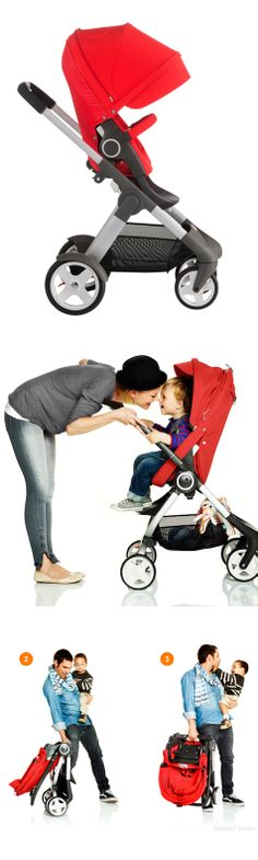 Stokke Stroller - 4 recline to upright positions.  Easy one hand folding.