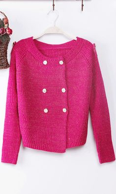 Lovely,cute,sweet... #Candy #color #double #breasted #knitted #sweater #rose #pink #ahai #button #ahai @Ahai