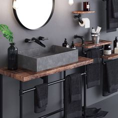 Loft Bathroom Set Loft Style Apartment on Behance Loft Bathroom, Industrial Bathroom, Rustic Bathrooms, Industrial House, Bathroom Sets, Small Bathroom, Bad Inspiration, Bathroom Inspiration, Modern Bathroom Design