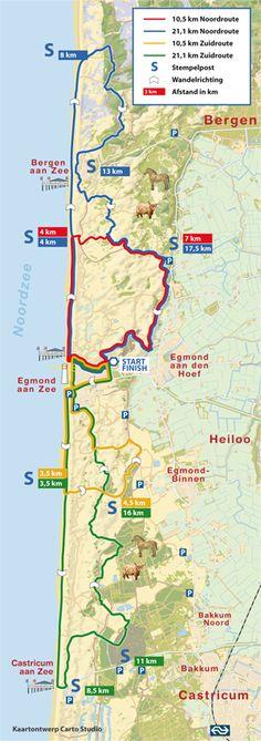 Op zaterdag 24 en zondag 25 januari vindt de 12e editie van de PWN Egmond Wandel Marathon plaats. Ik wandel op zaterdag de noord route en op zondag de zuid route. Places To Travel, Places To Go, What A Wonderful World, Wonders Of The World, Netherlands, Holland, Hiking, Map, Vacation