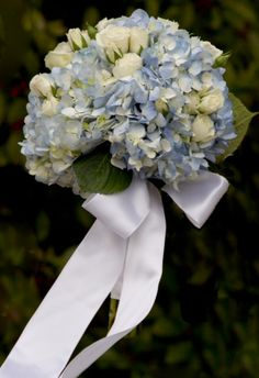 Hand-Tied Bouquet of Blue Hydrangeas and Pale Yellow Roses