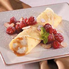 Caramel Creme Crepes.....need to try these (without the fruit and nuts)