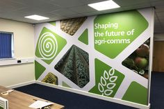 Brand your office space with a large office wall wrap. We recently installed this branded wall wrap for Pinstone. Office Wall Design, Workspace Design, Office Wall Art, Office Walls, Office Interior Design, Office Interiors, Office Decor, Area Industrial, Office Wall Graphics