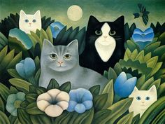 Cats in the Grass illustration. by Martin Leman. Art And Illustration, Cat Illustrations, Cool Cats, Art Amour, Frida Art, Image Chat, Cat Colors, Mundo Animal, Cat Drawing