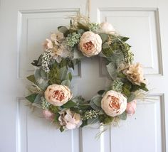 Door Wreath Peony Wreath Gift for Mum Front Door Spring Wreath Natural Large Rustic Wreath Shabby Chic Country Wreath English Country by Thymerose on Etsy https://www.etsy.com/listing/292128295/door-wreath-peony-wreath-gift-for-mum