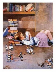 Children's / imaginative Illustrations: Reading Alice - Honor C. Appleton