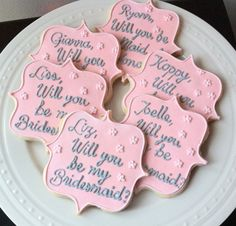 Decorated Personalized Will You Be My Bridesmaid Cookies, great for engagement party and bridal showers via Etsy