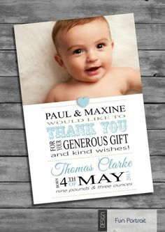 Personalised Baby Boy Thank You Card (Packs of ten)   eBay