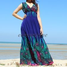 5f025eabfc9 New Blue Party Evening Peacock Wedding Hippie Plus Size Formal Maxi Long  Dress Bridesmaid Dress